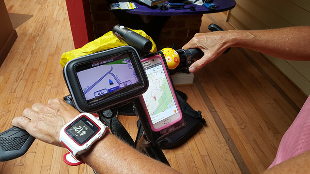 Touring Navigation: Nuvi + Samsung Smartphone + Brick Battery + RideWithGPS software + 3 handlebar attachments!